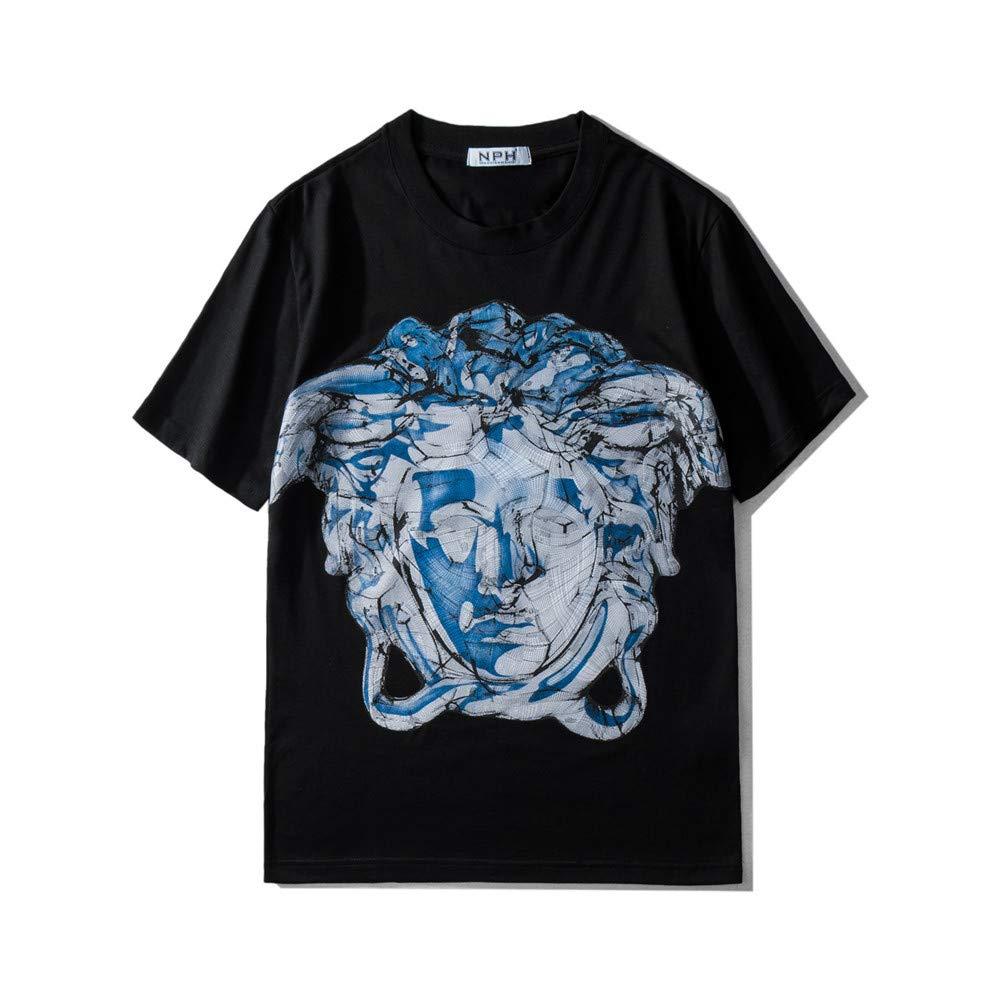 noir L KIND CY Unisexe imprimé T-Shirts Demi LÂche à la Mode Manche d'été