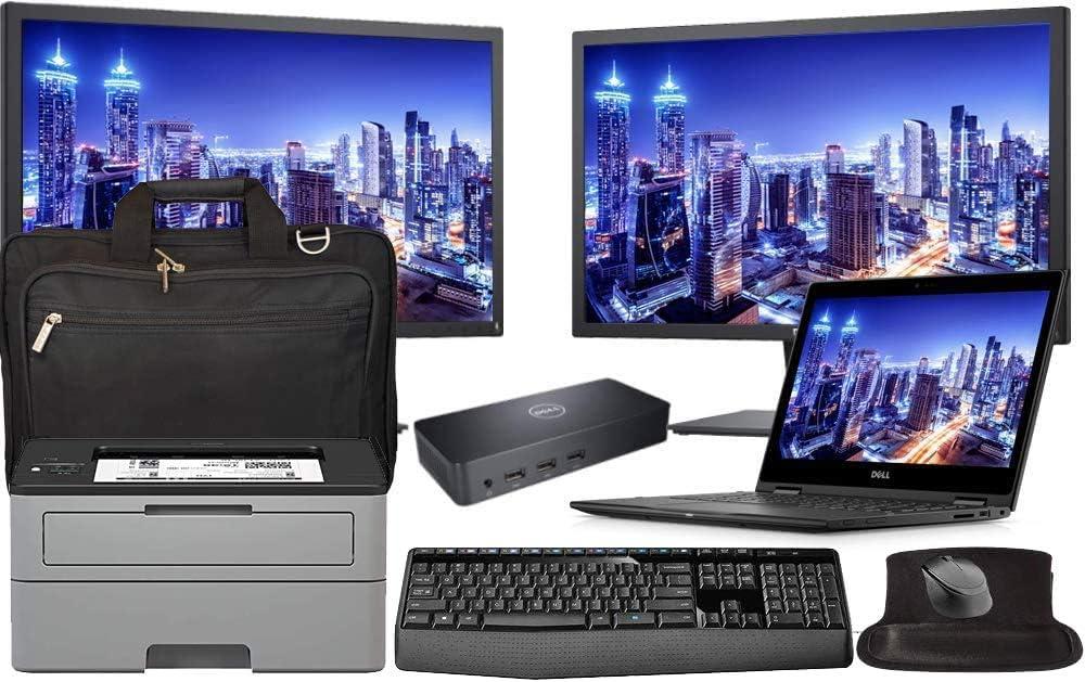 Dell Latitude 3390 Office Laptop Bundle with Dual 24 Inch Monitors, Printer, Docking, Keyboard, Mouse, Intel i5-8250U 4-Core, 8GB RAM, 500GB SSD, Win 10 Pro, Office 365