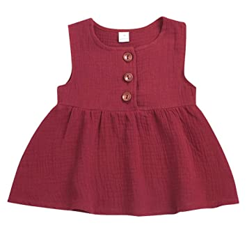 79add12e8bf6 AutumnFall 3M-3Y Princess Dress Toddler Girl Summer Dresses Solid Cotton  Casual A-Line