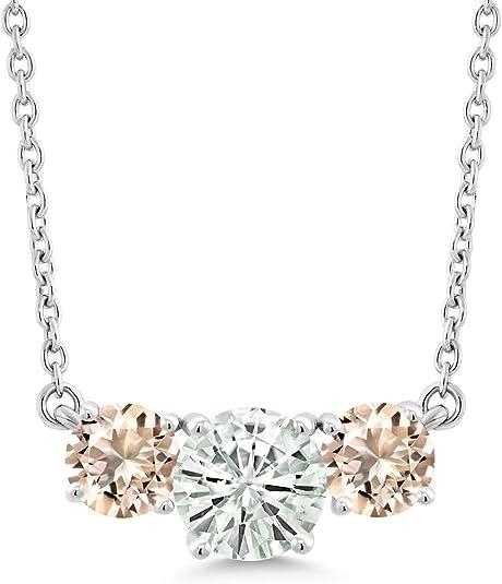 18K Rose Gold Plated Silver Ring Peach Morganite Moissanite KLM 1.00ct DEW