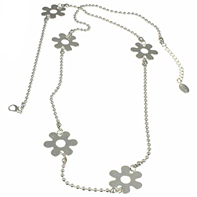 Lovely costume jewellery silver tone flower stamp ball bead long length necklace