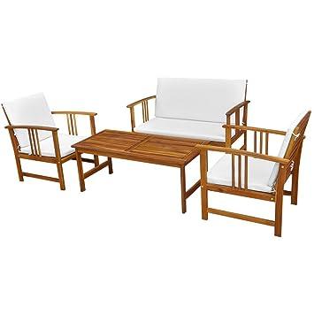 Festnight Set 10 Teiliges Gartenmobel Akazie 1 Tisch 1 Bank