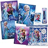 7pc Frozen Back to School Set - 2 Frozen Pocket Folders, 2 Frozen Spiral Notebooks, Giant Sticker Pack, 1 Blind Eraser Pack & 4pk No. 2 Pencils