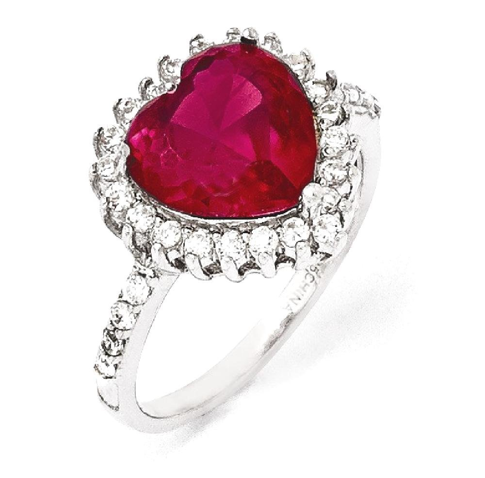ICE CARATS 925 Sterling Silver 100 Facet Synthetic Red Ruby Cubic Zirconia Cz Heart Band Ring Size 8.00 S/love Fine Jewelry Gift Set For Women Heart