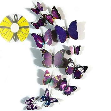 Yueming 12 Stuck Deko Schmetterlinge 3d Schmetterlinge Wandtattoo Schmetterlinge Balkon Deko Schmetterling Wanddeko Butterfly Wandsticker Lila Amazon De Baumarkt