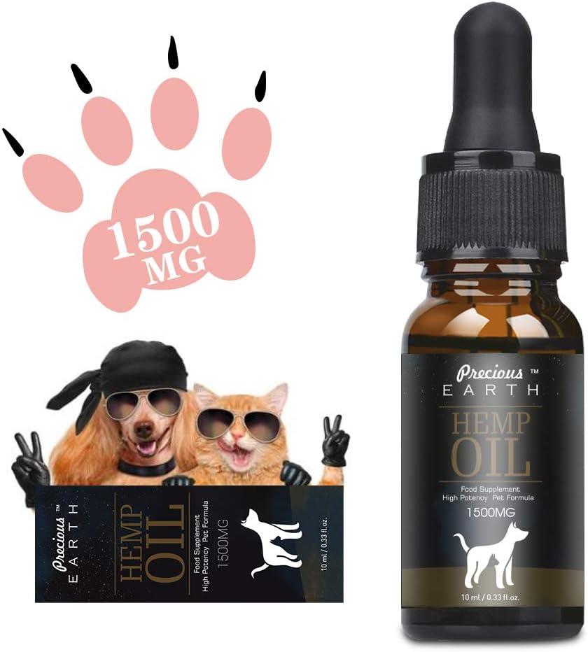 PRECIOUS EARTH Aceite de cáñamo Natural para Perros y Gatos, Aceite de cáñamo orgánico para Mascotas, Rico en Vitamina E, B y Omega 3, 6 y 9 (3000mg/30ml) (1500mg/10ml)