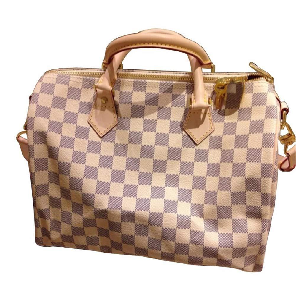Womens Canvas Speedy Tote Bag Travel Bag Cross Body Bag (30cm, white)