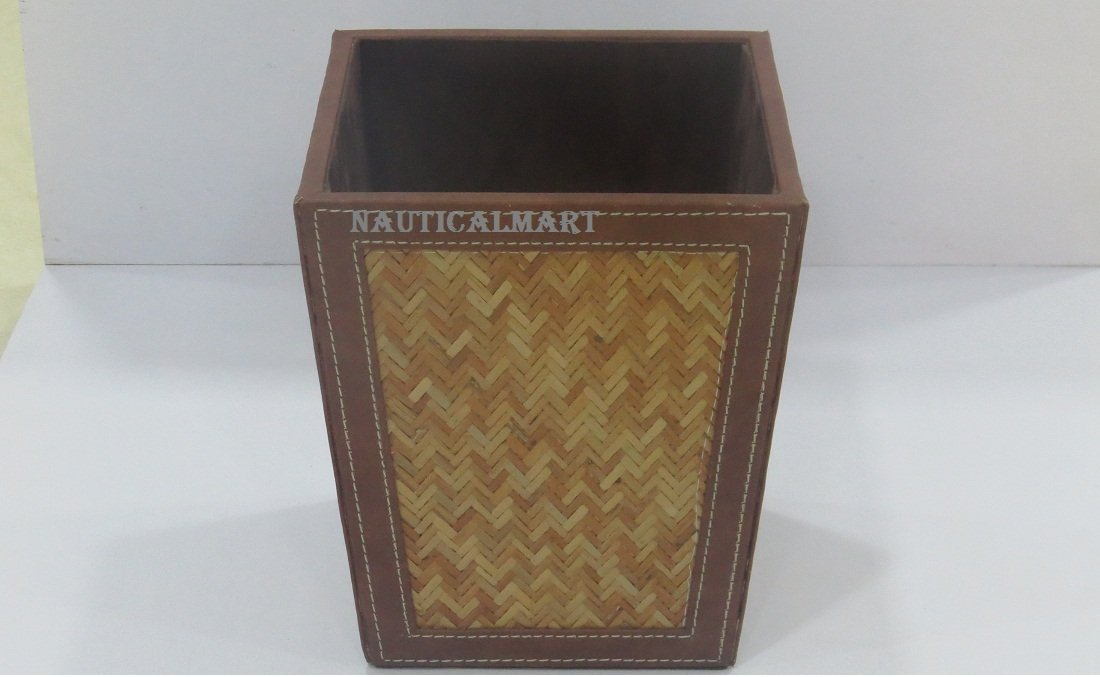 NauticalMart Vintage Decor- Wooden Dustbin by NauticalMart