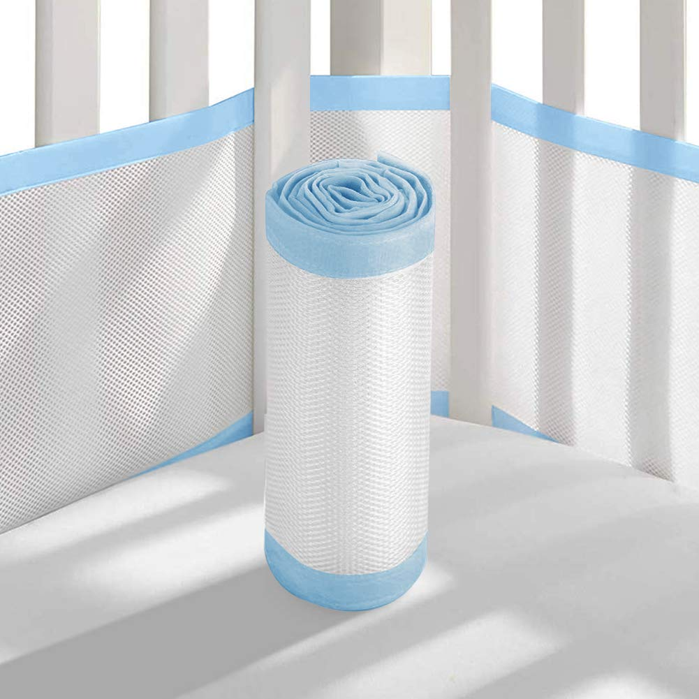 Baby Mesh Crib Liner QOONESTL Baby Crib Bumper Pads for Standard Cribs Machine Lightweight Washable Safe Hypoallergenic