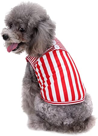 YiJee Animale Domestico Righe Gilet Maglietta Traspirante Senza Maniche T-Shirts Rosso XS