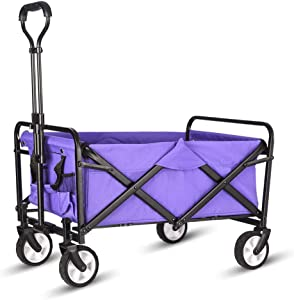 WHITSUNDAY Collapsible Folding Garden Outdoor Park Utility Wagon Picnic Camping Cart (Compact Size, Purple)