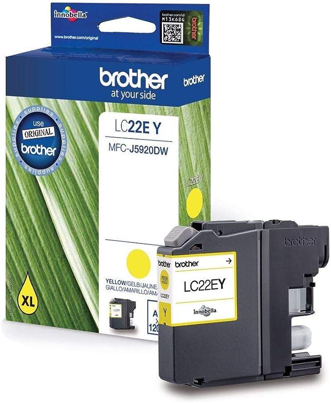 Brother Lc 22ey Yellow Original Ink Cartridge For Brother Mfc J5920dw Bürobedarf Schreibwaren