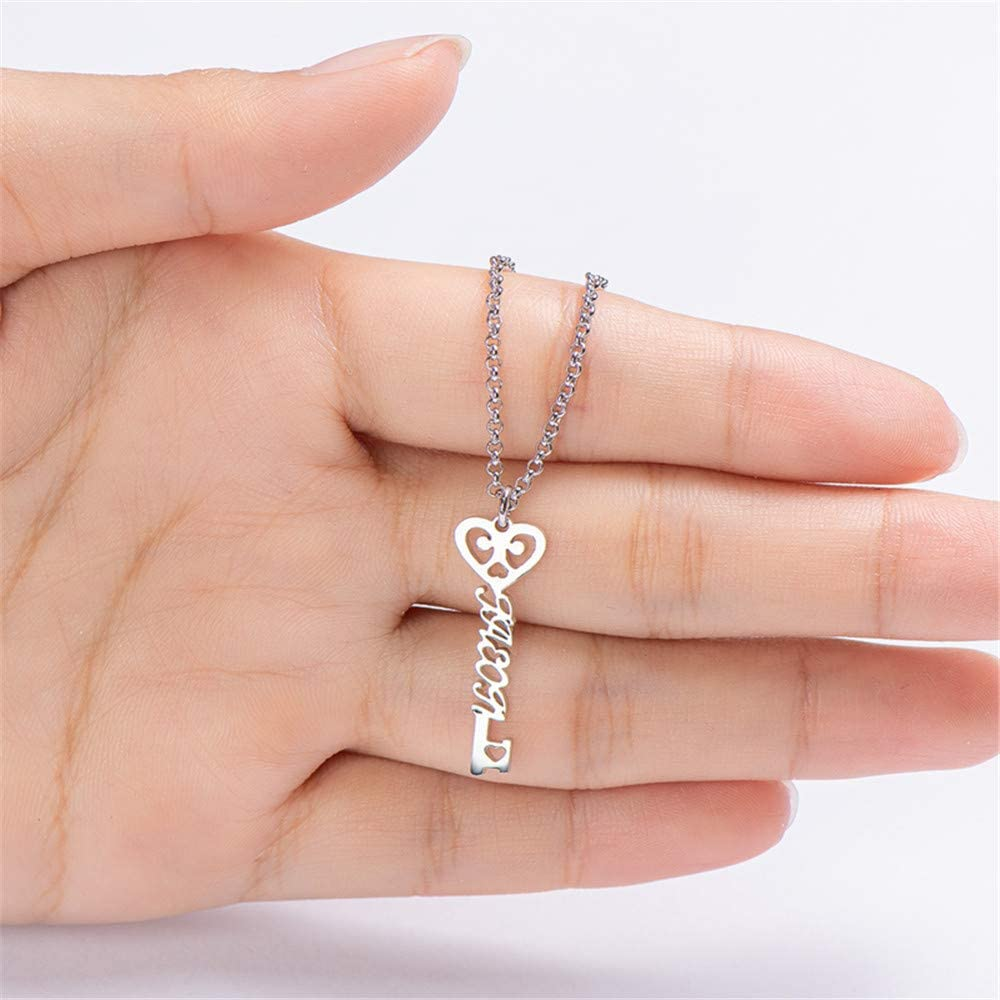 LIANZHEN Name Necklace Plated Sterling Silver Heart Key Pendant Names Necklaces Any Name Necklaces for Women Mom Mothers Day