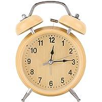 DERCLIVE Alarm Clocks Retro Mechanical Manual Wind Up Metal Clock Bedside Alarm Clock Double Twin Bell