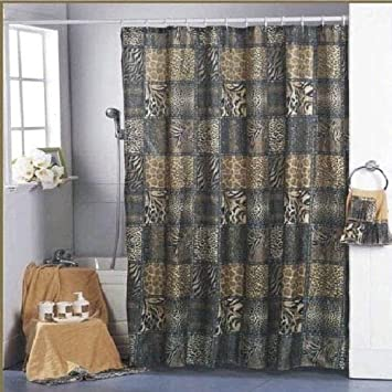 Curtain Rideau De Douche Animal Zebra Leopard Jungle Safari D