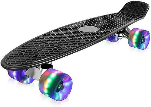 HUADUO Cruiser Skateboard Tavola Completa 7 Strati Acero Longboard Skateboard Penny Board Cuscinetto ABEC-7 per Adulti Adolescenti Bambini Ragazzi Ragazze