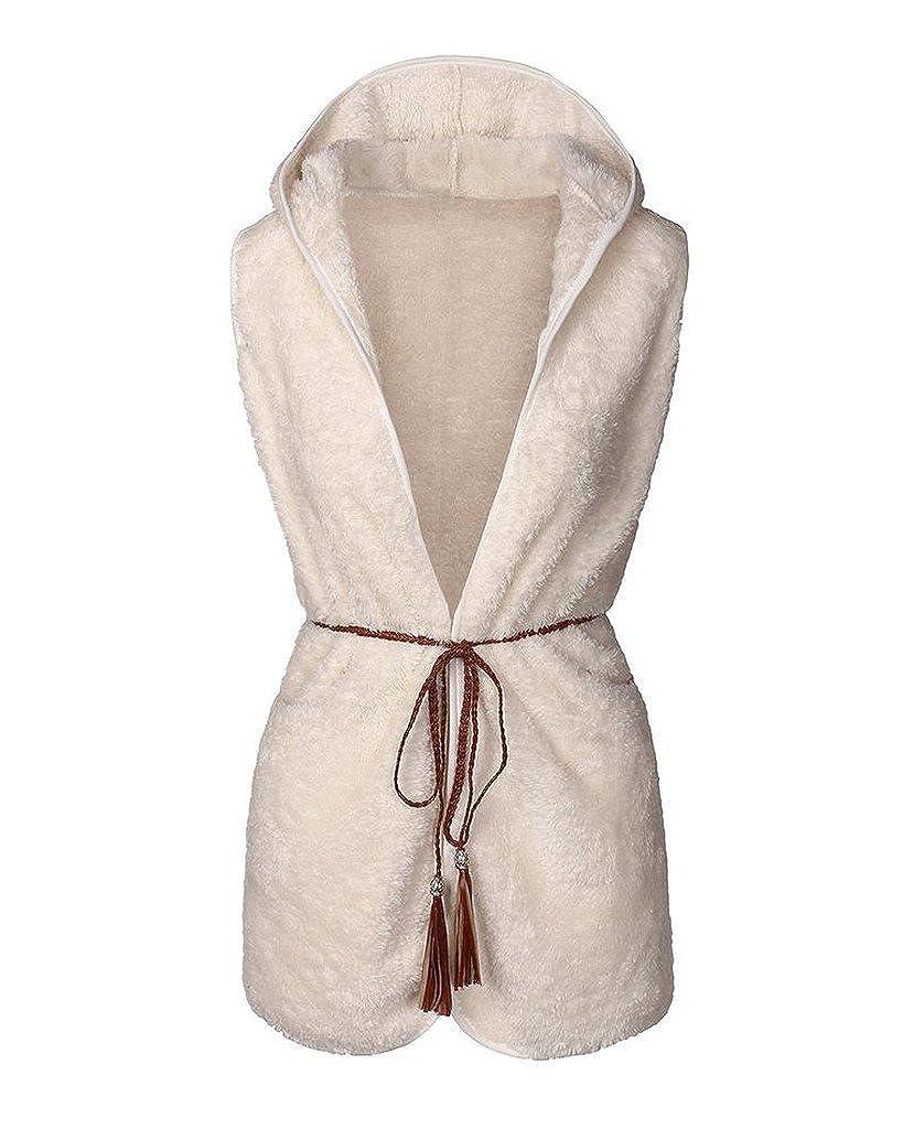 Sunfan Women's Faux Shaggy Fur Hooded Vest with Belt