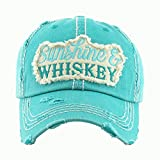 MWH001 Sunshine and Whiskey Blue-Green Washed Cotton Vintage Ball Cap.
