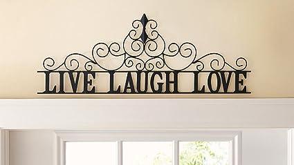 Amazon.com: CTD Store Elegant Metal Scroll Live Laugh Love Wall ...