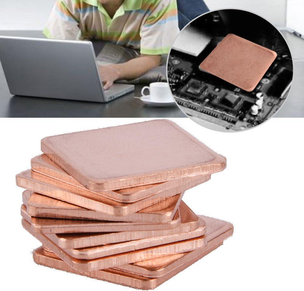 Asixx Copper Heat Sink Pad 1.0mm 10 pcs 20 20mm CPU Thermal Pad Copper Sheet Shim Piece Heat Sink Thermal Pad For GPU CPU Laptop