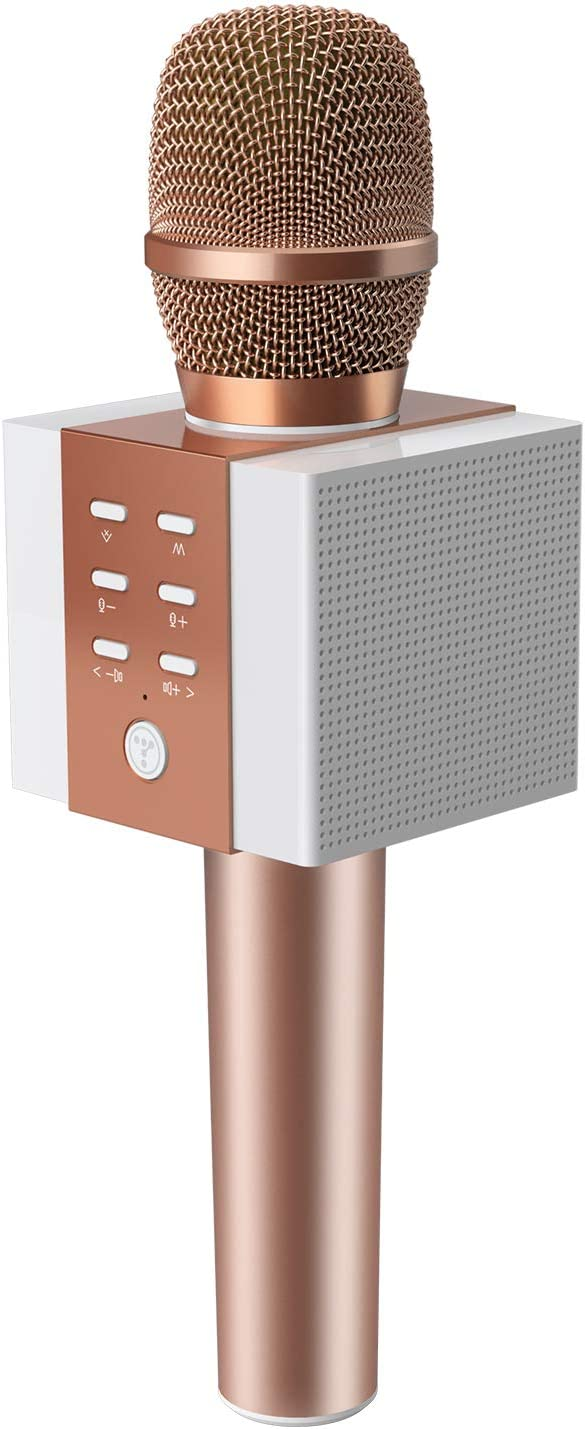 TOSING 008 Wireless Bluetooth Karaoke Microphone,Louder Volume 10W Power, More Bass, 3-in-1 Portable Handheld Double Speaker Mic Machine for iPhone/Android/iPad/PC (008, rose gold)