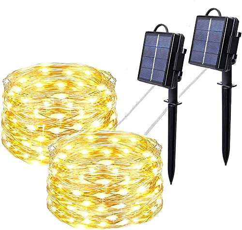 Solar String Lights Solar Outdoor Waterproof String Lights Solar Porch LED String Lights for Indoor and Outdoor Decoration 2-Pack Warm Yellow