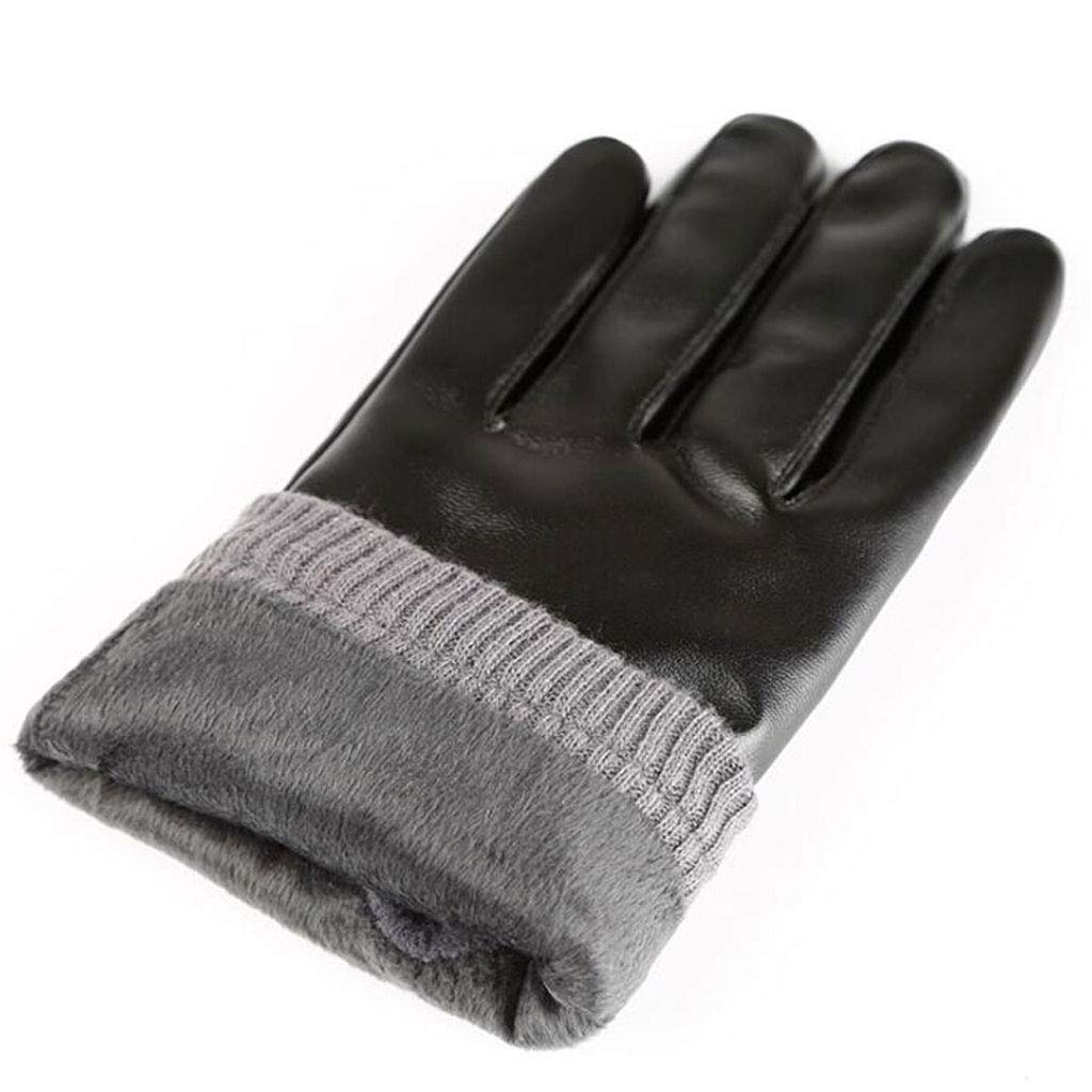 SangZhong Mens Autumn and Winter Warm and Windproof Plus Velvet Thick Touch Screen Leather Gloves Mens Winter Cycling Motorcycle Gloves