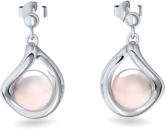 Rose gold earrings, Precious metal Pearl earrings Pearl earrings Freshwater cultured Pearl rose gold 925 sterling silver earrings