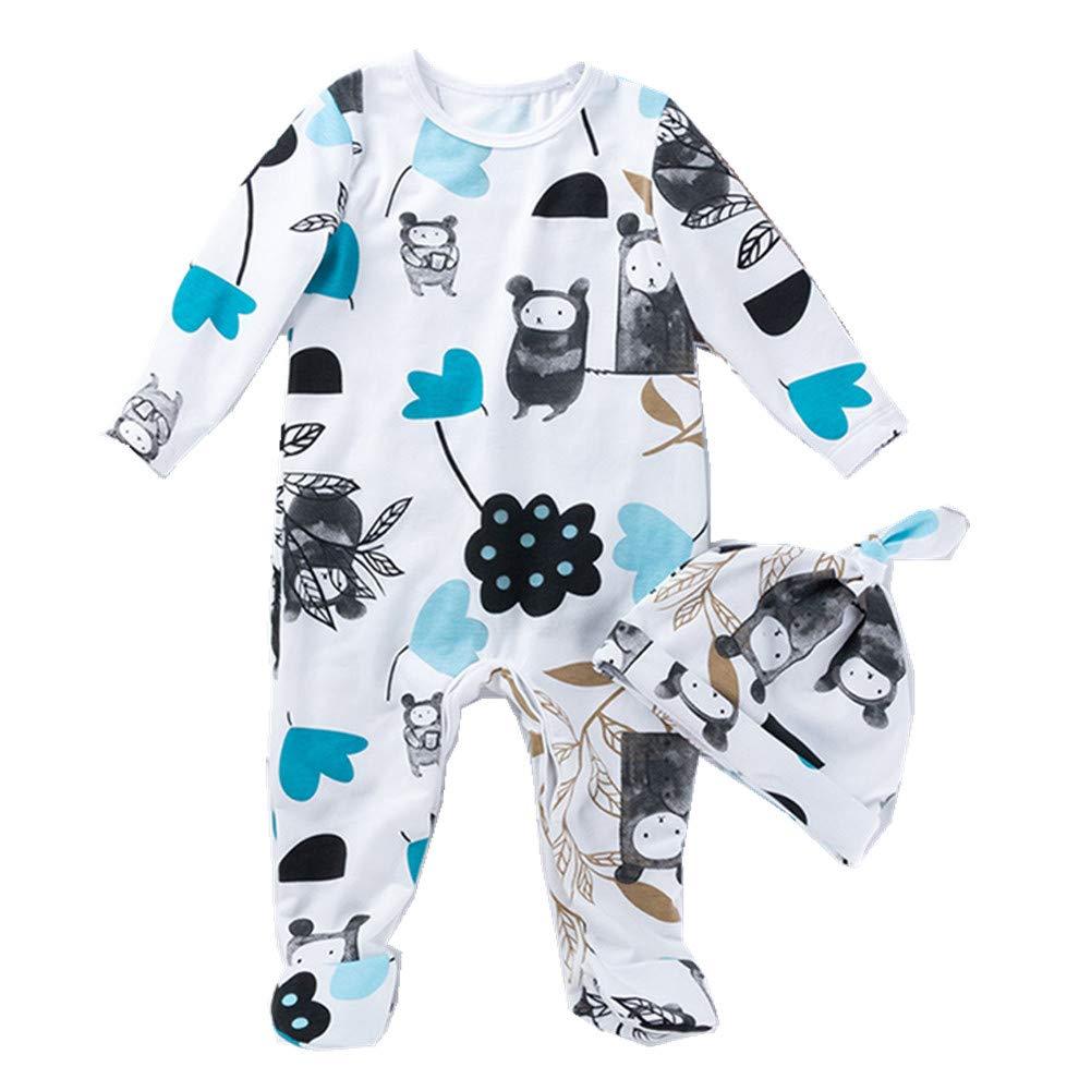 Beide Baby Boys Girls Unisex One Piece Bulldog Footies Pijama with Hat