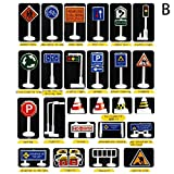 NszzJixo9 28 Pcs Car Toy Accessories Traffic Road Signs Kids Children Play Learn Toy Game Babies Can Learn and Know About Traffic Signs (B)