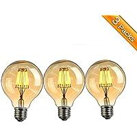 Ampoule Vintage LED, Elfeland E27 6W Ampoule Edison Lampe Rétro Antique Dimmable Ampoule Décorative Amber 600LM 2200K Lumière Blanc Chaud pour Lustres Plafonniers Modèle G80-3 Packs