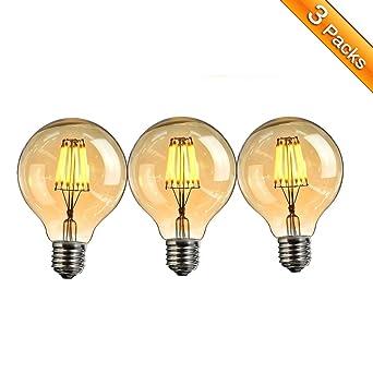 Bombilla Edison Led,ElfelandBombilla LED Retro E27 6W Bombilla Globo Decorativa Vintage Estilo Industrial Dimmable
