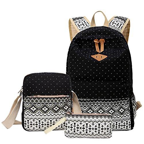 School Backpack, Aiduy Cute Lightweight Canvas Bookbags Shoulder Daypack Handbag (Black) ()