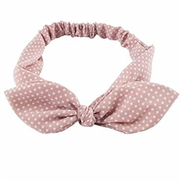 Amazon.com   Cotton Striped Headband For Women Lady Knotted Bow Rabbit Ear  Stretch Hair Accessories Pink2   Beauty 4357d4e24db