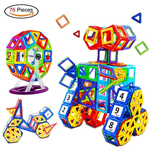 76 Pcs Magnetic Sticks Building Blocks, Magnetic Tiles Construction Educational Toy 3D Puzzle with Storage Bag for Kids Toddlers