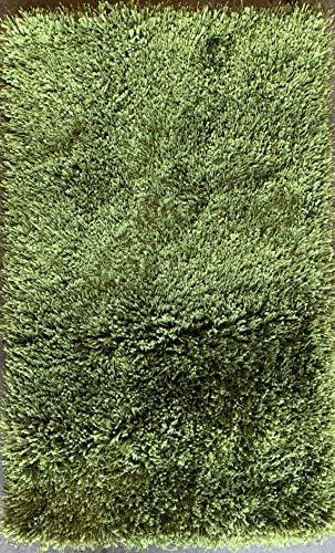 Rose Delux Green Door Mat Thick Plush Plain Solid Furry Fluffy Designer Shag (2 Feet X 3 Feet 4 Inch)