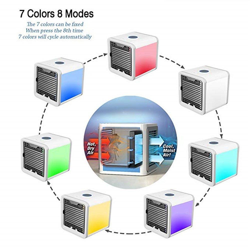 Guoyajf Enfriador De Aire Port/átil,Acondicionador De Aire Evaporativo De Escritorio De Carga USB,Humidificador Purificador De Aire Personalcon 7 Colores Luces Led,Ventilador para In//Outdoor