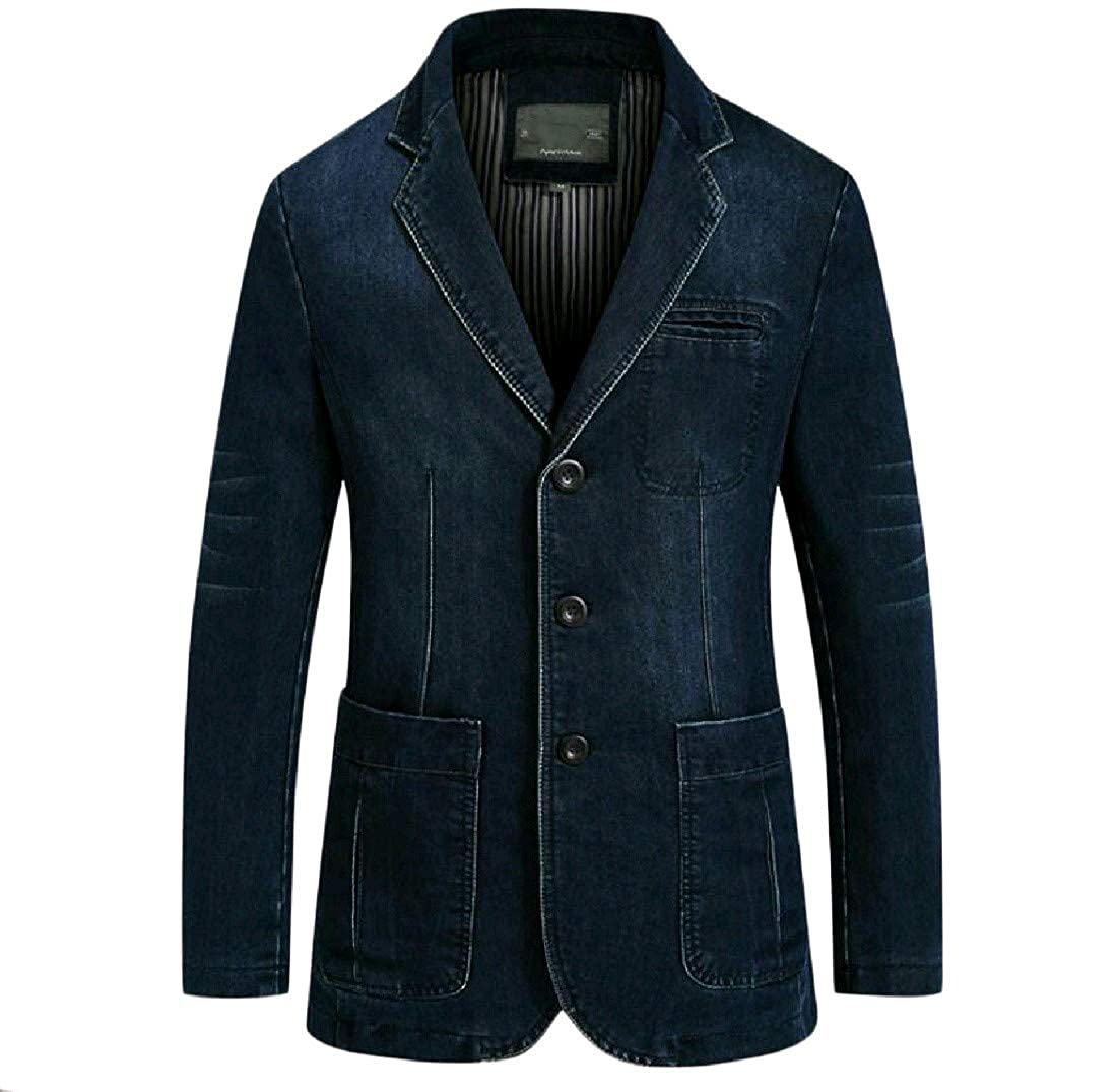 Abetteric Men's Mid-Long Winter Windproof Jean Suit Jacket Blazer