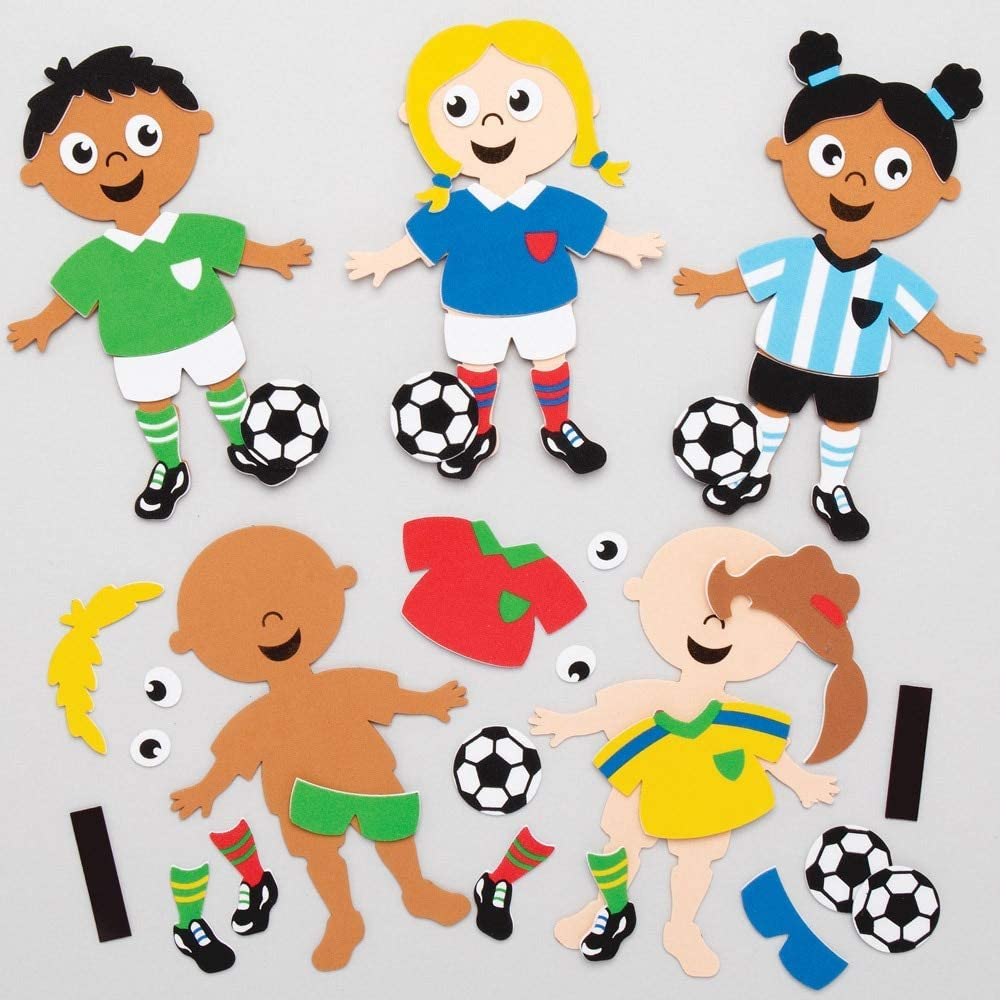 Baker Ross AT795 Football Mix and Match Magnet Kits for Kids Arts and Crafts Projects Assorted Pack of 8