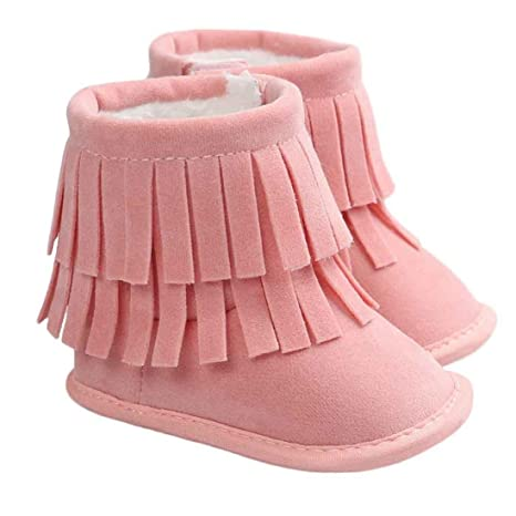 1Pair Keep Warm Double-deck Tassels Soft Snow Boots Soft Crib Shoes Toddler Boot