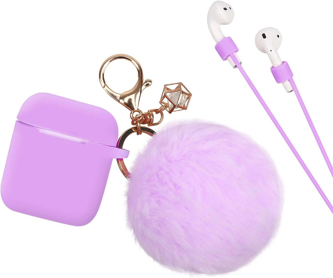HDE Case for AirPods Silicone Protective Cover with Puffball Earbud Strap and Gold Keychain with Charm for First and Second (2019) Generation AirPods