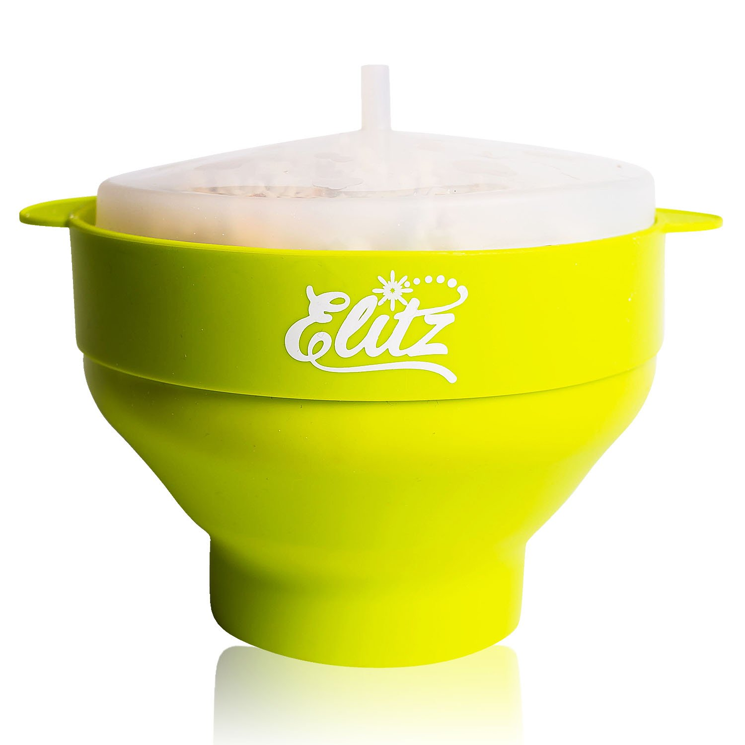 ELITZ Microwave Popcorn Popper with Lid | Natural, Oil-Free Air Popping | BPA Free Microwaveable, Collapsible Silicone Popcorn Maker Bowl | Hot, Gourmet Movie Theater Fresh Taste - Lime Punch Green