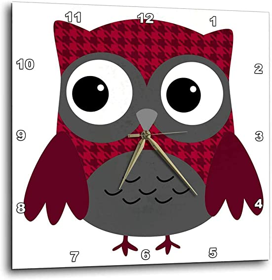 3dRose DPP_61031_1 Cute Ruby Red Houndstooth Patterned Owl-Wall Clock, 10 by 10-Inch