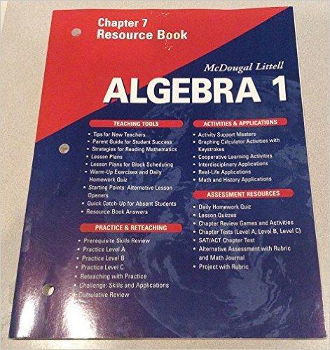McDougal Littell Algebra 1: Resource Book: Chapter 3