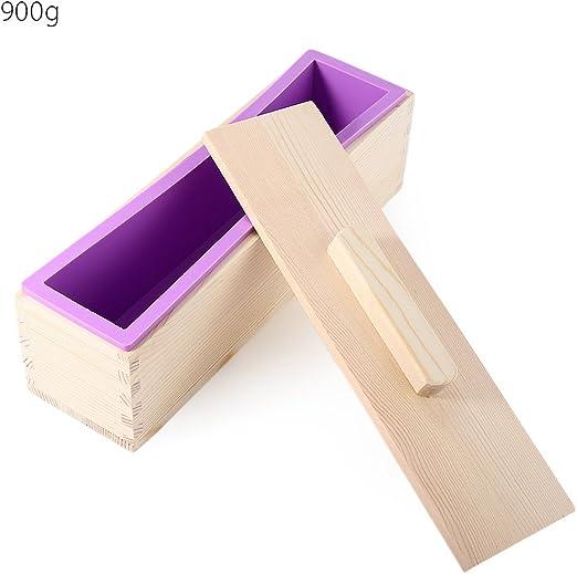 Caja de madera maciza de DIY hecho a mano jabón de silicona manualidades molde rectangular con tapa caja de jabón hacer jabones caseros moldes PURPLE 900G morado: Amazon.es: Hogar