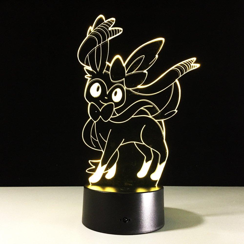 7 Cambio de color Pokemon 3d Lámpara de noche LED Usb Lámpara de ...
