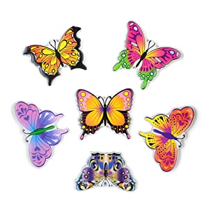 Morcart Refrigerator Magnets Cartoon Cute Butterfly Magnets(6pcs)3D Pattern Suitable For Kitchen Kids Toys Student Locker Whiteboard Office Menu Message Board