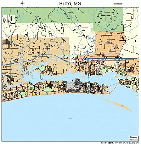Amazon Com Large Street Road Map Of Biloxi Mississippi Ms