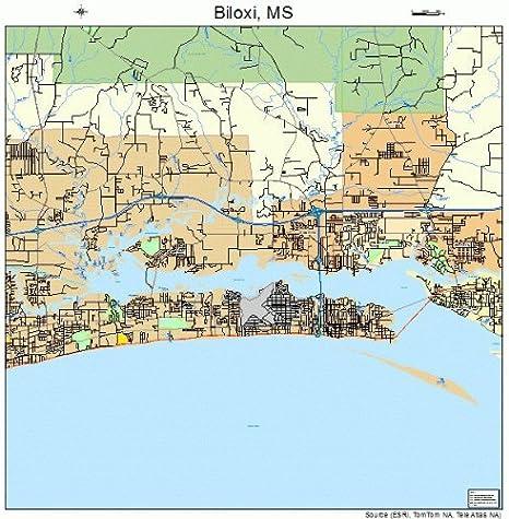 Amazon Com Large Street Road Map Of Biloxi Mississippi Ms