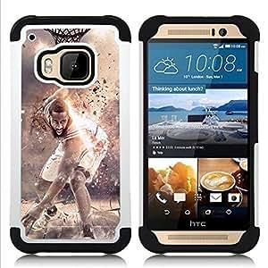 """HTC One M9 /M9s / One Hima - 3 en 1 impreso colorido de Altas Prestaciones PC Funda chaqueta Negro cubierta gel silicona suave (Estrella del baloncesto"""")"""